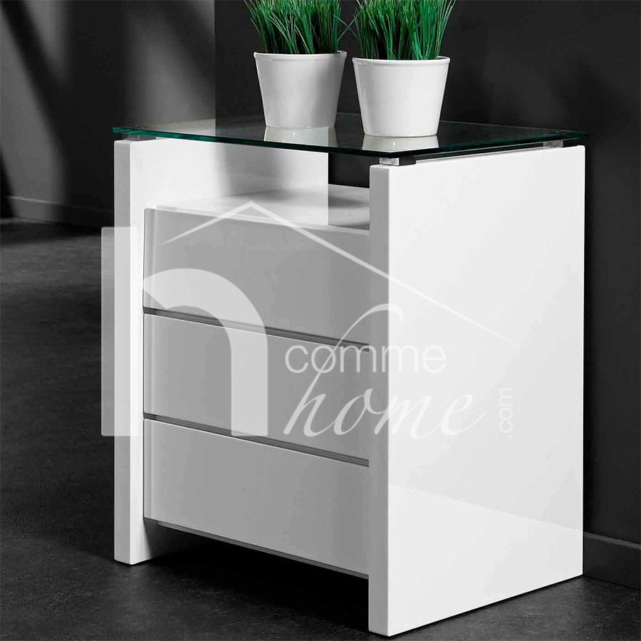 Table chevet blanc laque - Table de chevet gris laque ...