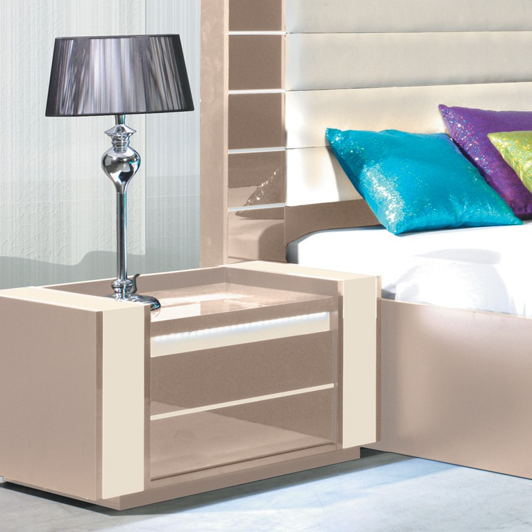 Table de chevet design lumineuse taupe koffi zd1 chv a d - Table de chevet couleur taupe ...
