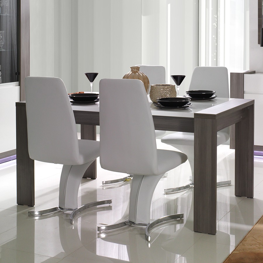 salle a manger marron - table contemporaine grise