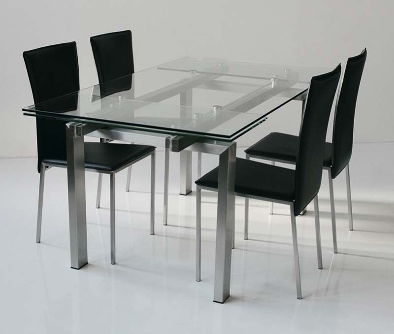 Table design verre acier miranda zd1 tab r d for Table a manger extensible design