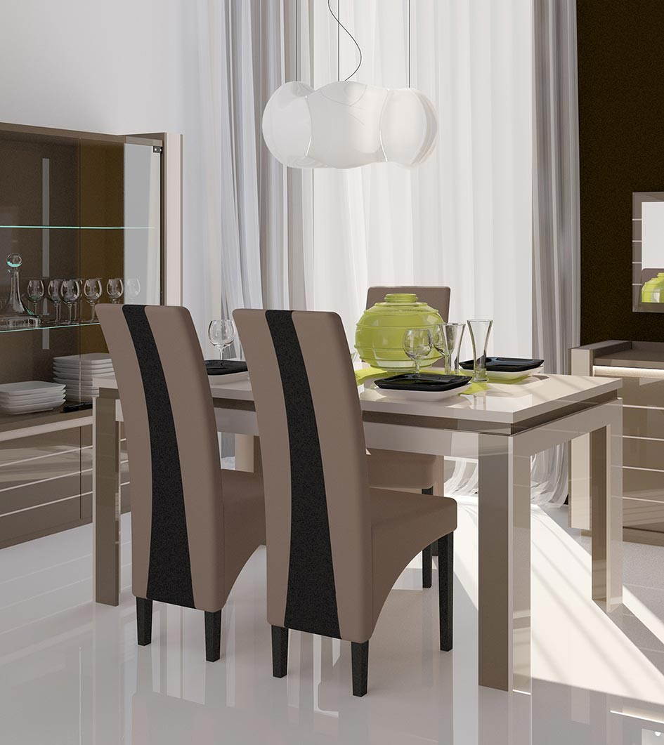 Table laque taupe blanc indro2 zd1 tab r d - Table design salle a manger ...