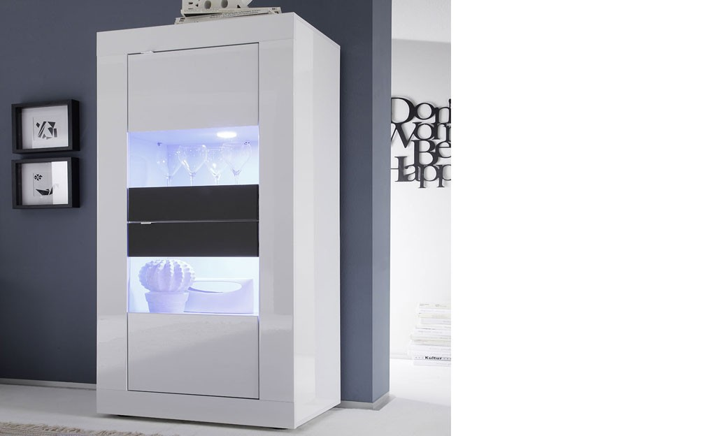 vitrine blanc et gris laqu design focus 3 avec led en. Black Bedroom Furniture Sets. Home Design Ideas