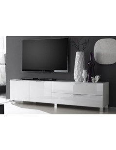 banc tv design casablanca coloris blanc laqu disponible en 2 dimensions. Black Bedroom Furniture Sets. Home Design Ideas