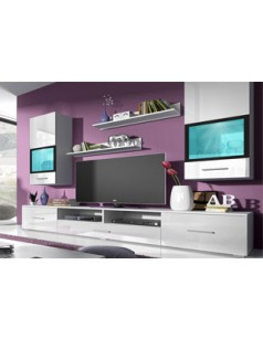 Ensemble meuble tv laqu blanc brillant et finitions for Meuble mural laque brillant design