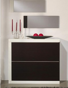 meuble chaussures contemporain marsi laqu blanc et weng. Black Bedroom Furniture Sets. Home Design Ideas