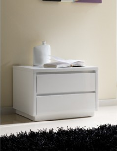 Chevet adulte design laqu blanc tobia 2 tiroirs - Table de chevet design laque blanc ...