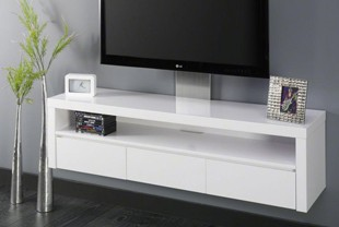 Meuble hifi suspendu design - Meuble tv suspendu blanc laque ...