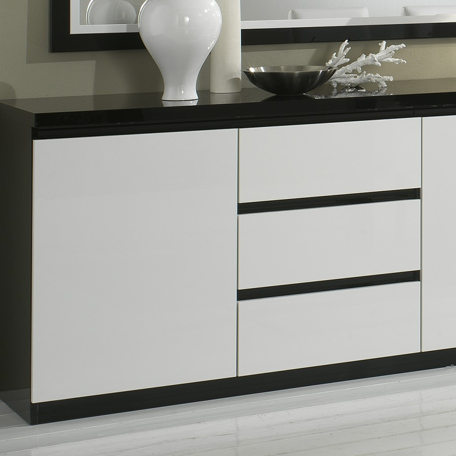 buffet noir blanc. Black Bedroom Furniture Sets. Home Design Ideas