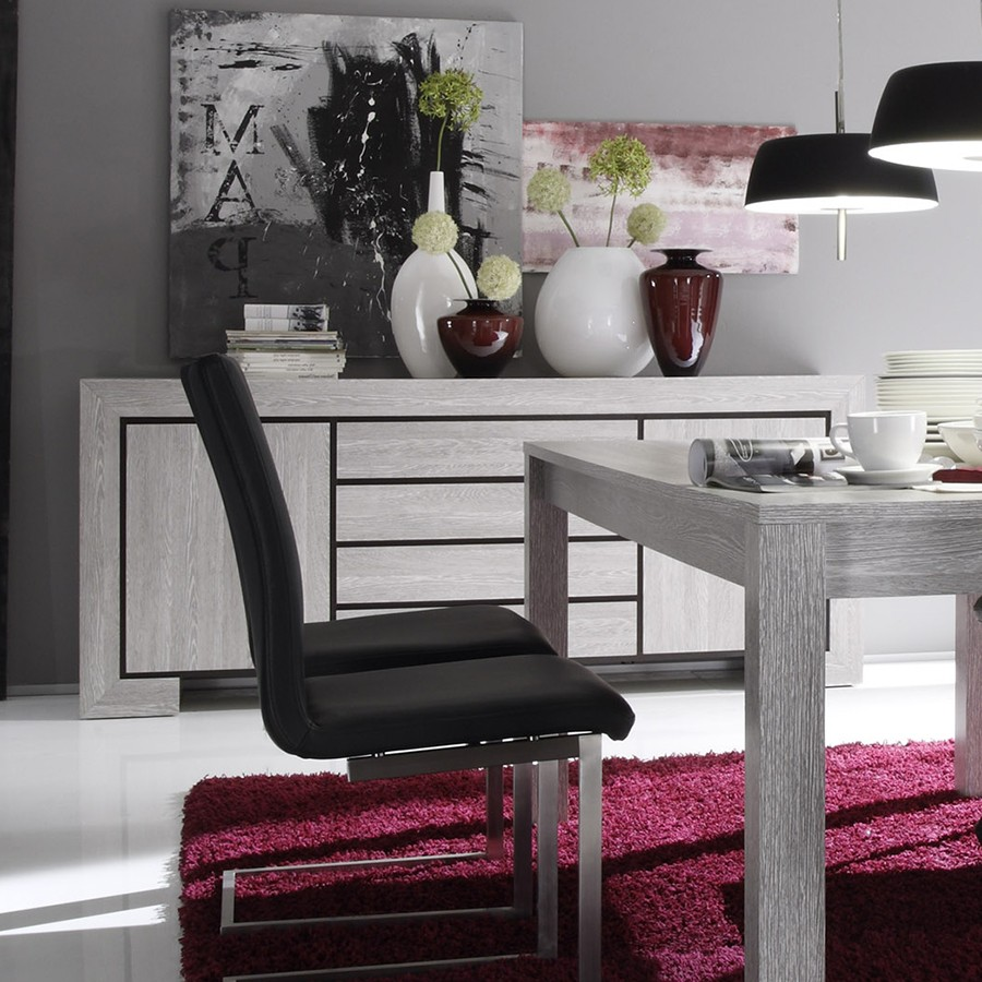 Table basse contemporaine desiree coloris chene gris for Salle a manger moderne gris