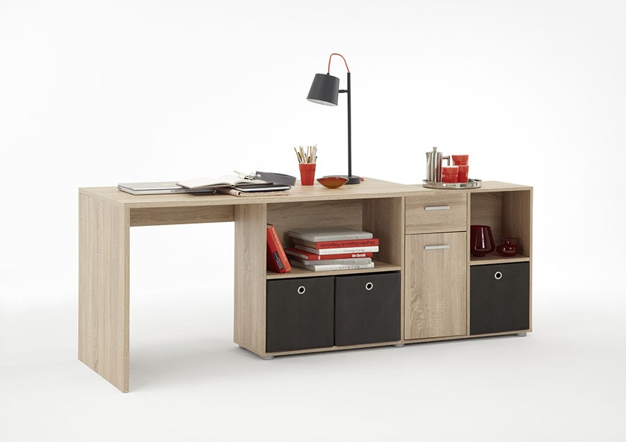 bureau avec rangements et bibliotheque moderne. Black Bedroom Furniture Sets. Home Design Ideas