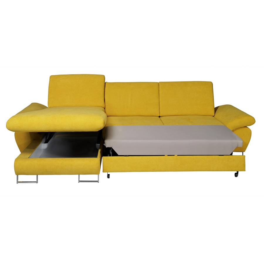 Canape convertible avec coffre for Canape jaune moutarde