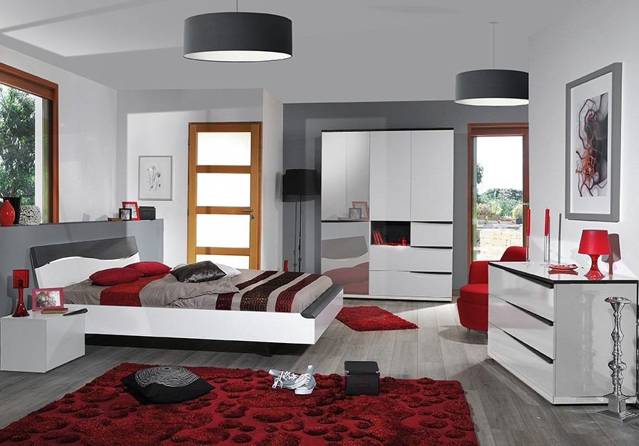 chambre gris chambre blanc gris et rouge u2013 lombards. Black Bedroom Furniture Sets. Home Design Ideas
