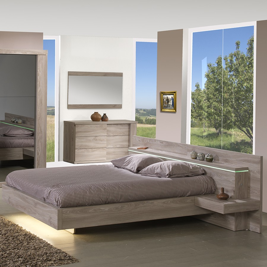lit avec led pour chambre adulte. Black Bedroom Furniture Sets. Home Design Ideas