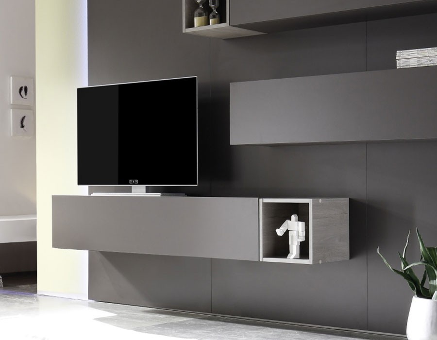 meuble suspendu laque gris. Black Bedroom Furniture Sets. Home Design Ideas