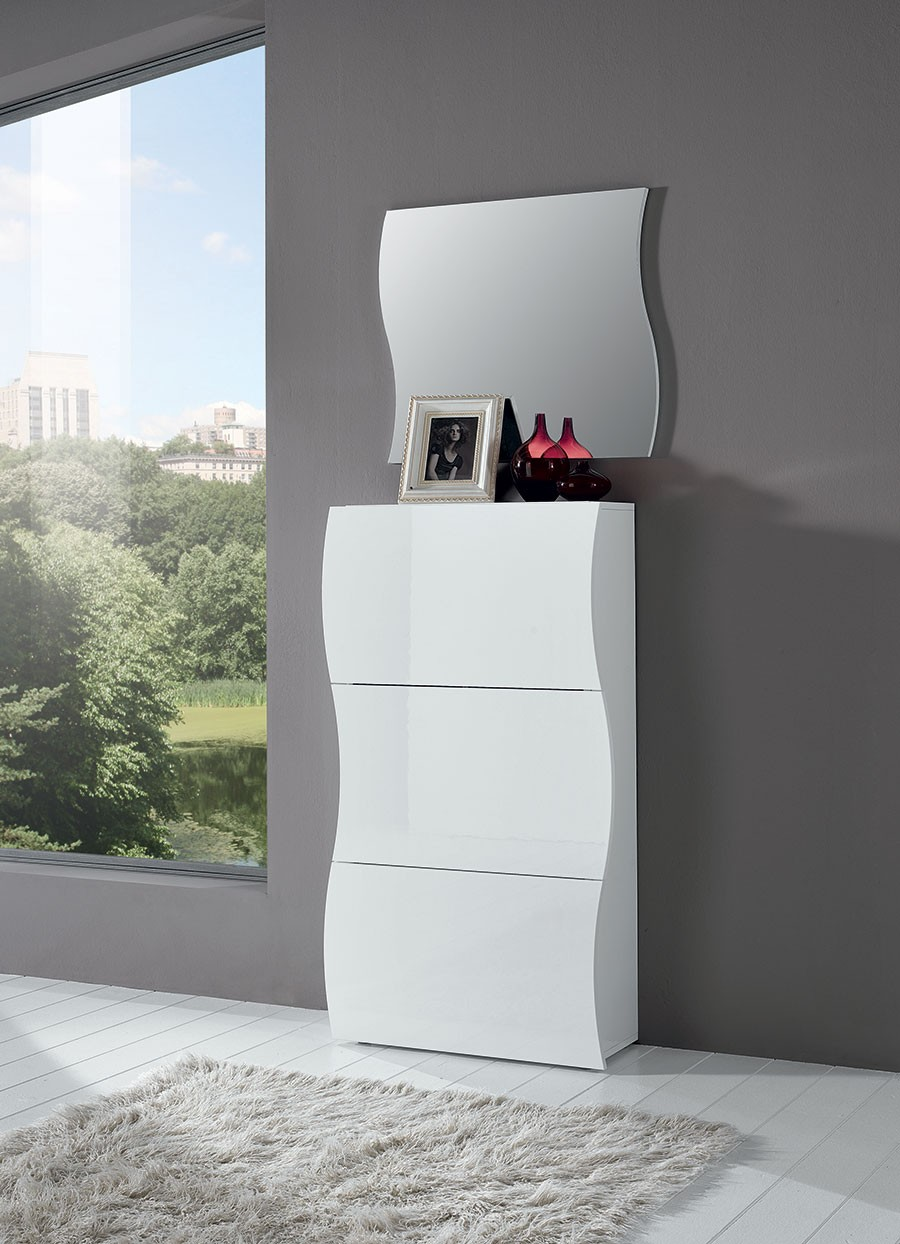 meuble chaussure blanc laqu. Black Bedroom Furniture Sets. Home Design Ideas