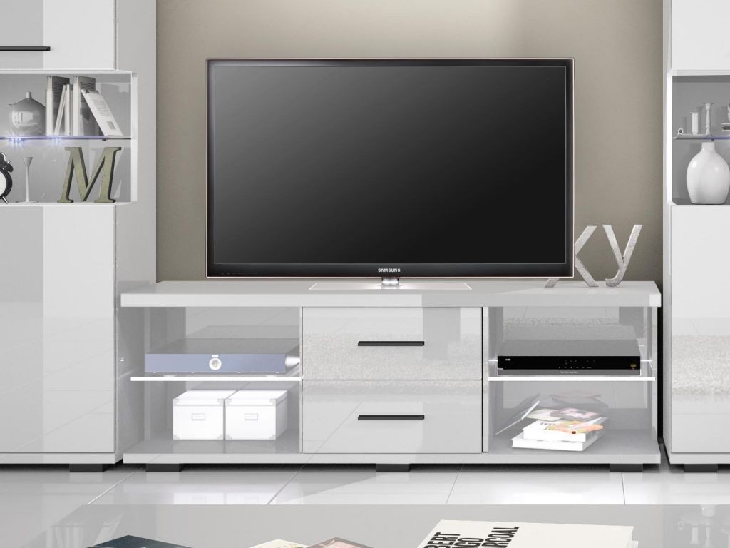 Meuble Tv Blanc Laqu Design Meuble Tv Hifi Design Elios Coloris  # Meuble Tv Blanc Laque Long