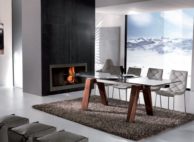 table salle a manger rectangulaire avec rallonge valdiz. Black Bedroom Furniture Sets. Home Design Ideas