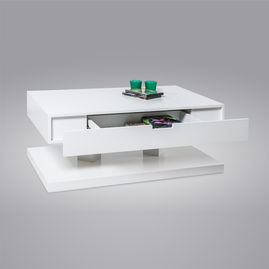 Table basse design blanc laque for Table basse design pas cher blanc