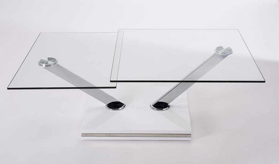 Table transformable verre for Table basse tout en verre