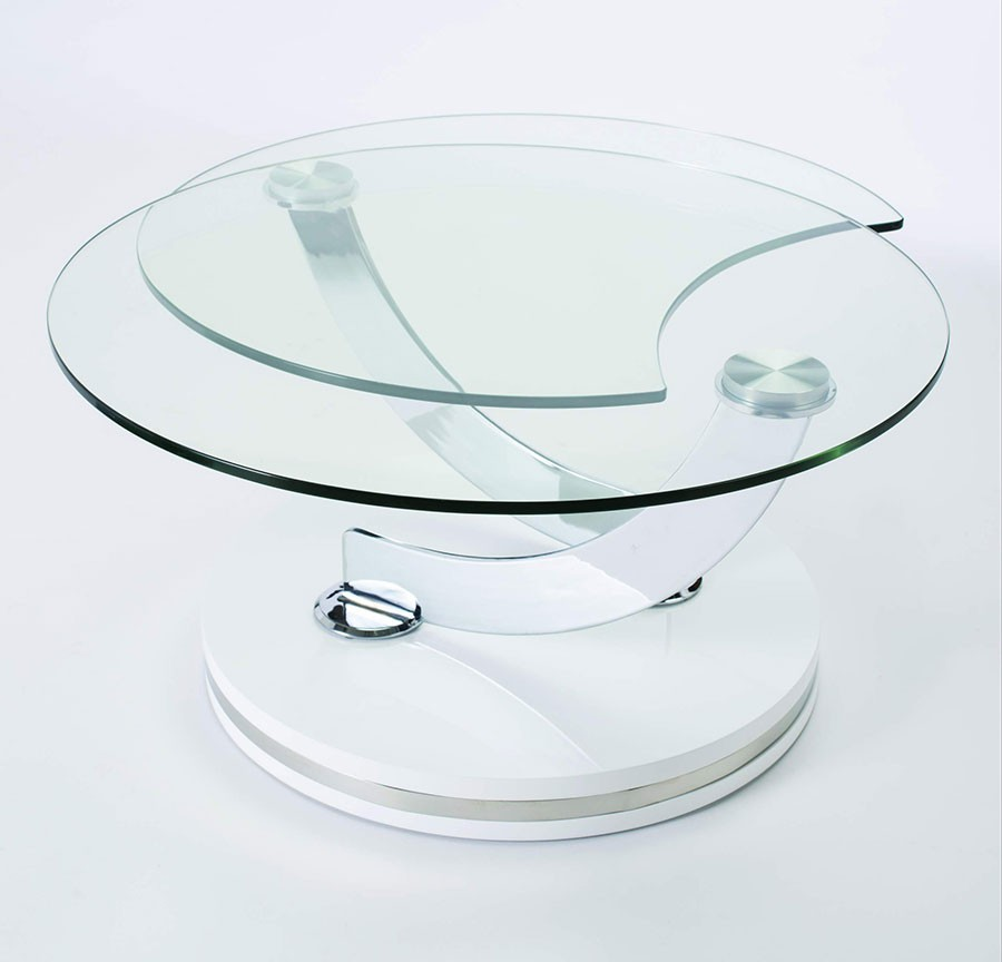 Table de salon transformable en verre for Table ronde verre design