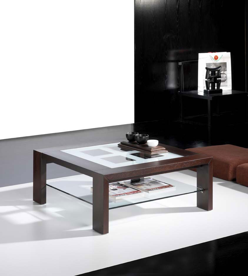 Table basse carree wenge et verre for Table basse bar wenge
