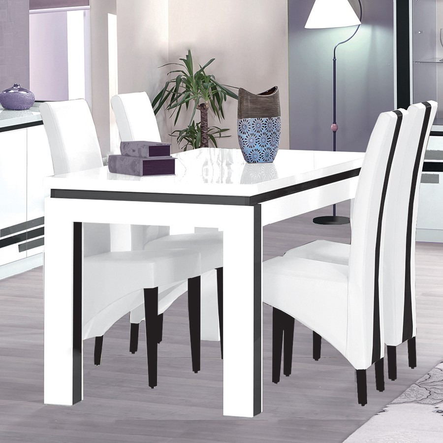 Salle a manger complete blanc laque but for Table de salle a manger blanc design