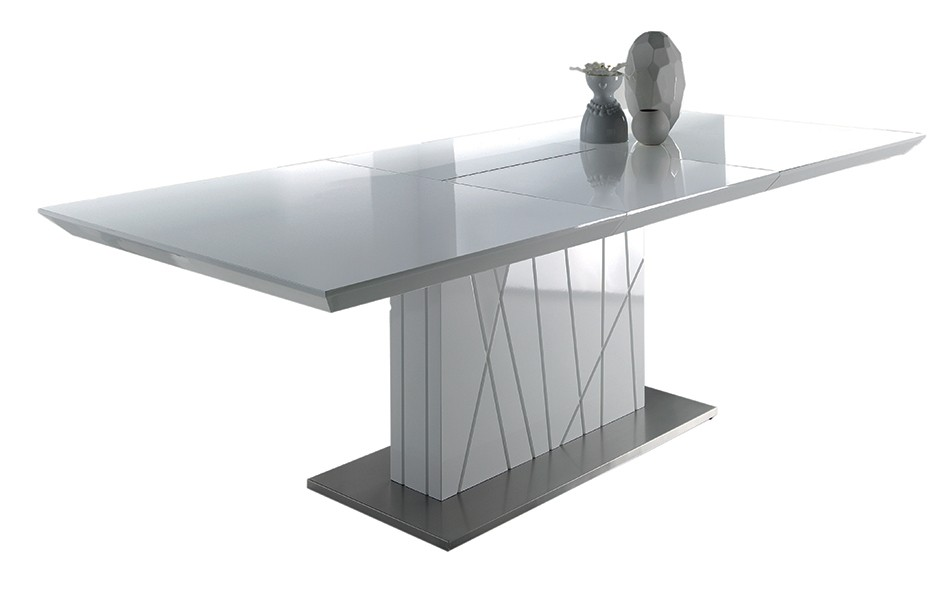 Table rectangulaire avec rallonge design for Table blanche a rallonge