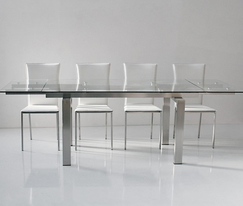 Table verre rallonge salle manger for Table salle a manger design a rallonge