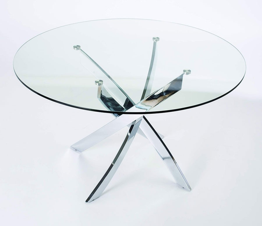 Verre et chrome table de salle manger trevero bande for Table a manger transparente