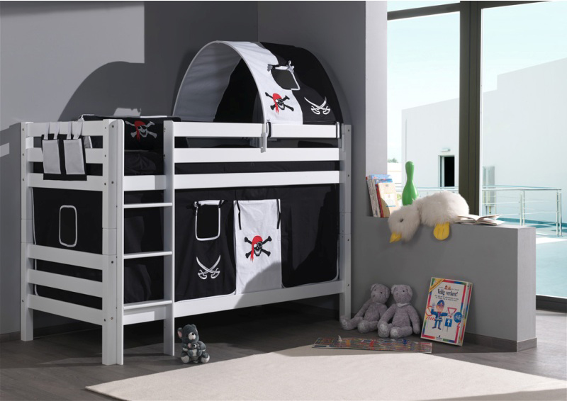 lits superpos s avec habillage pirate2 en option avec sommiers inclus. Black Bedroom Furniture Sets. Home Design Ideas