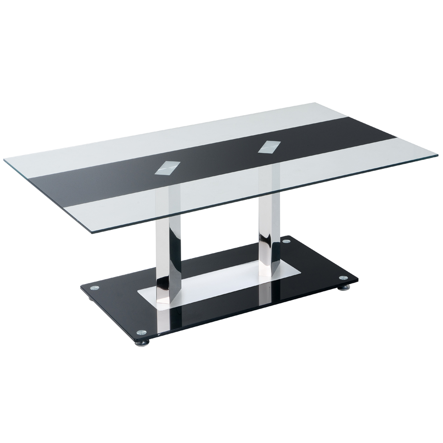 Grande table basse verre tremp pi tement design chrome for Table basse retro design