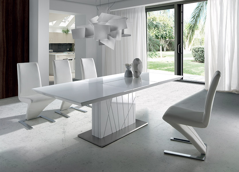 Table salon - Table carree blanc laque avec rallonge ...